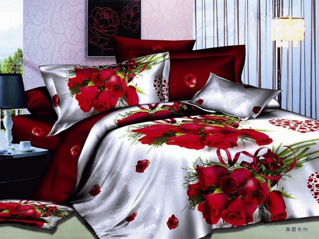 White and red bed sheets -  Wholesale Red Rose With Prints 3d Bedding Set Quilt White Red Comforters Sets Duvet Covers