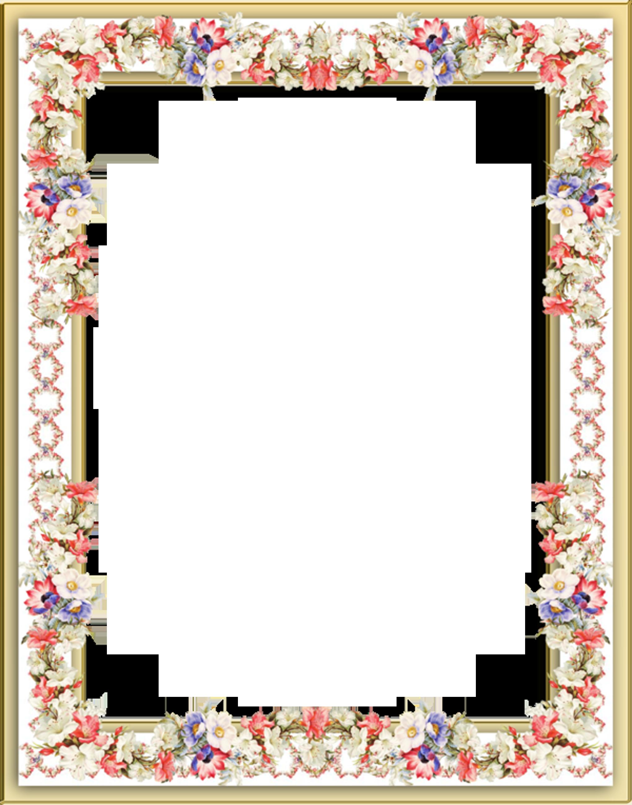 Строгая рамка фото с цветами