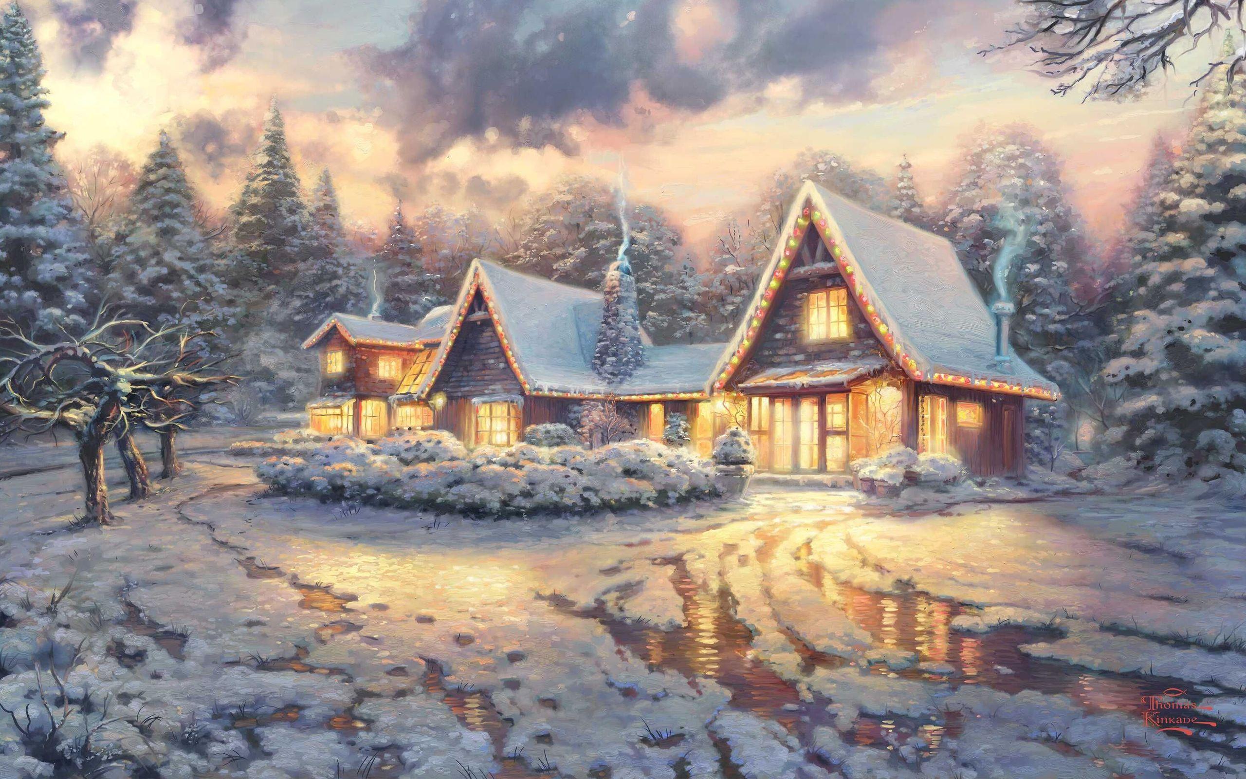 Обои на рабочий стол сказочный домик в зимнем лесу
