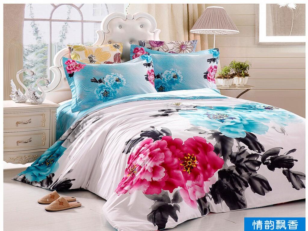 3d bedding set cottoon wholesale The new style denim cotton linens cotton flower wedding full activ