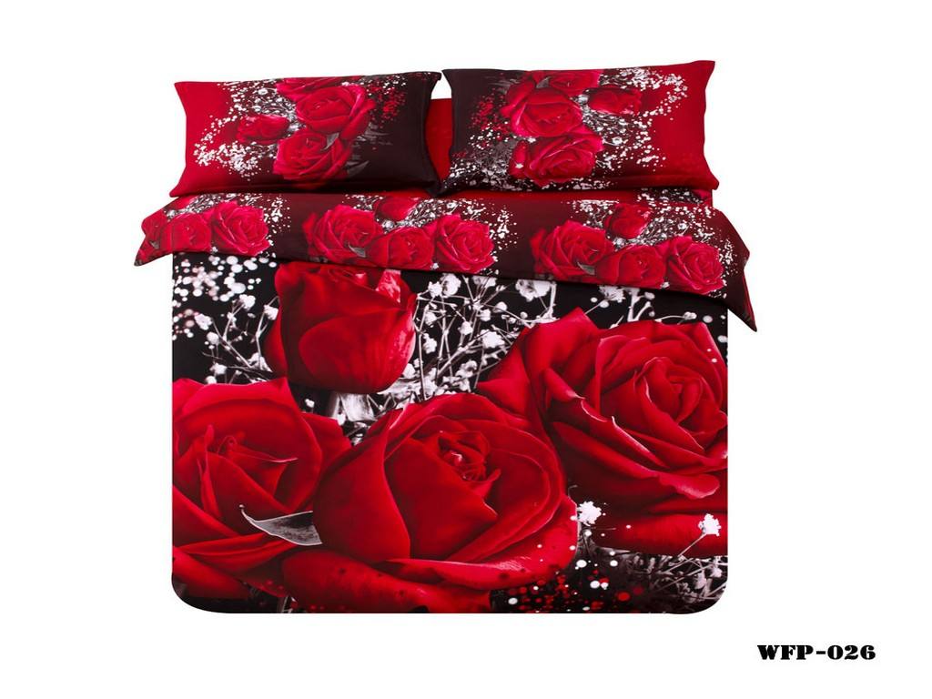 Home textiles 100 cotton 3D bedding sets queen king size duvet cover pillowcase rose bedding set