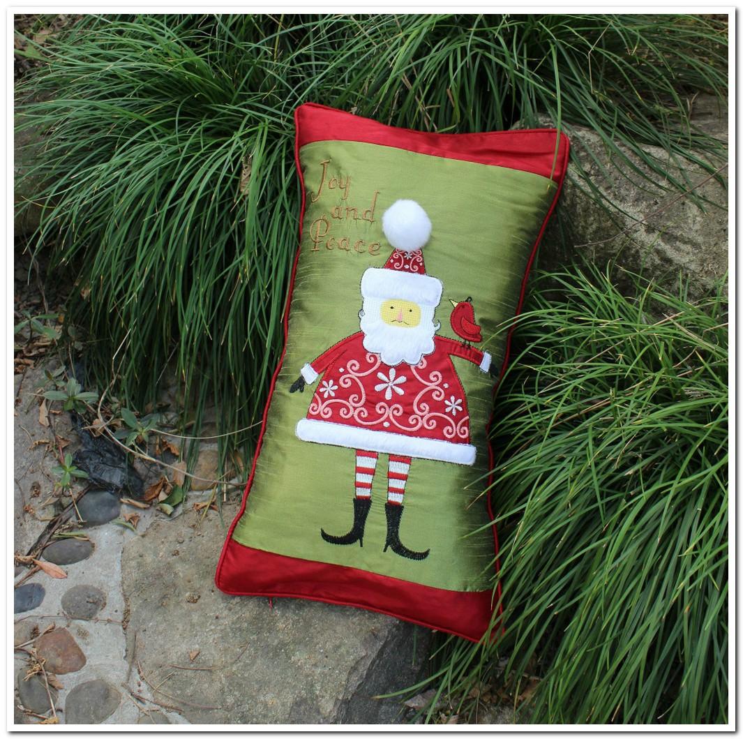 embroidered christmas santa claus satin cushions cover throw
