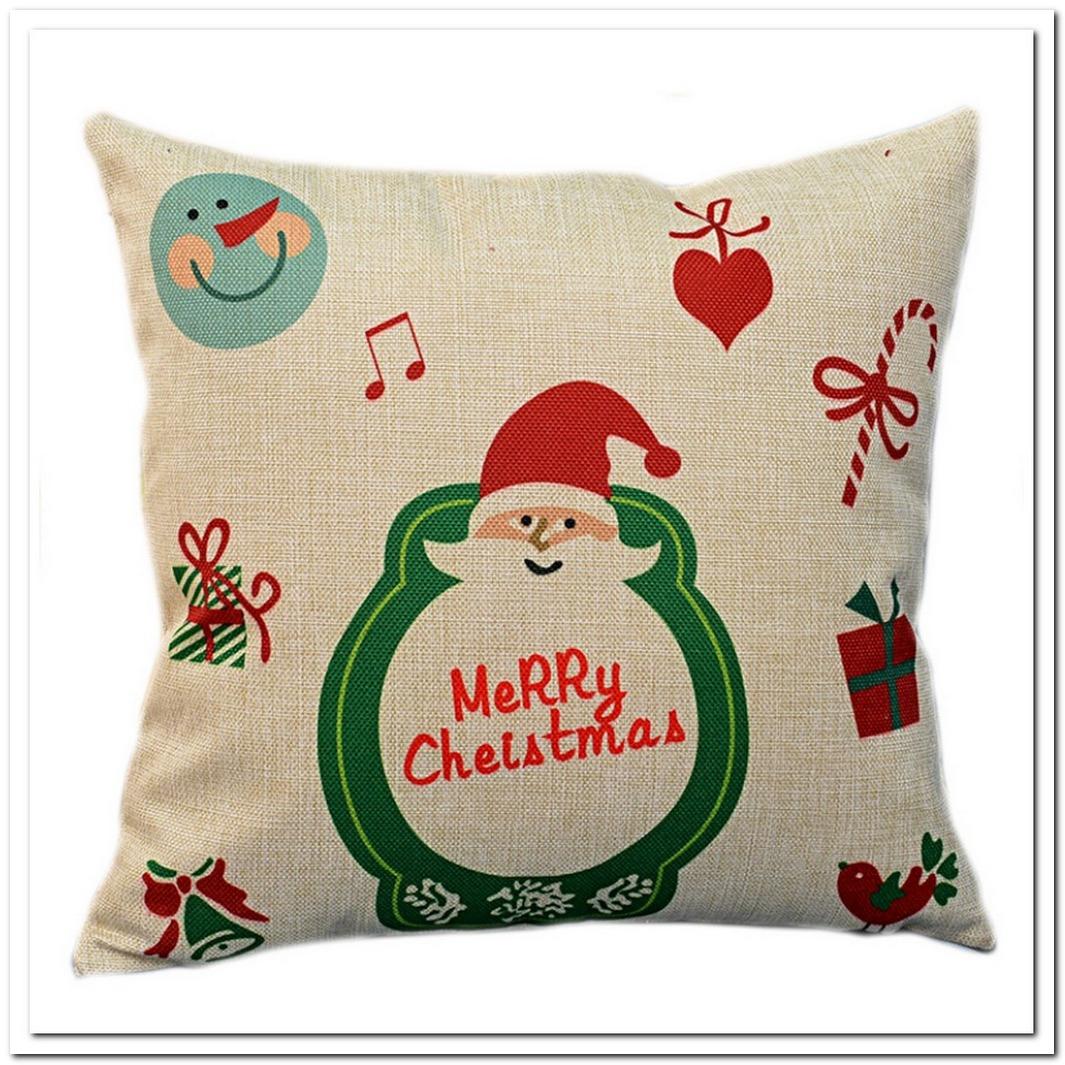 Home Decorat: Linen Polyester Cushion Cover 43 43cm 7 7 Christmas Santa