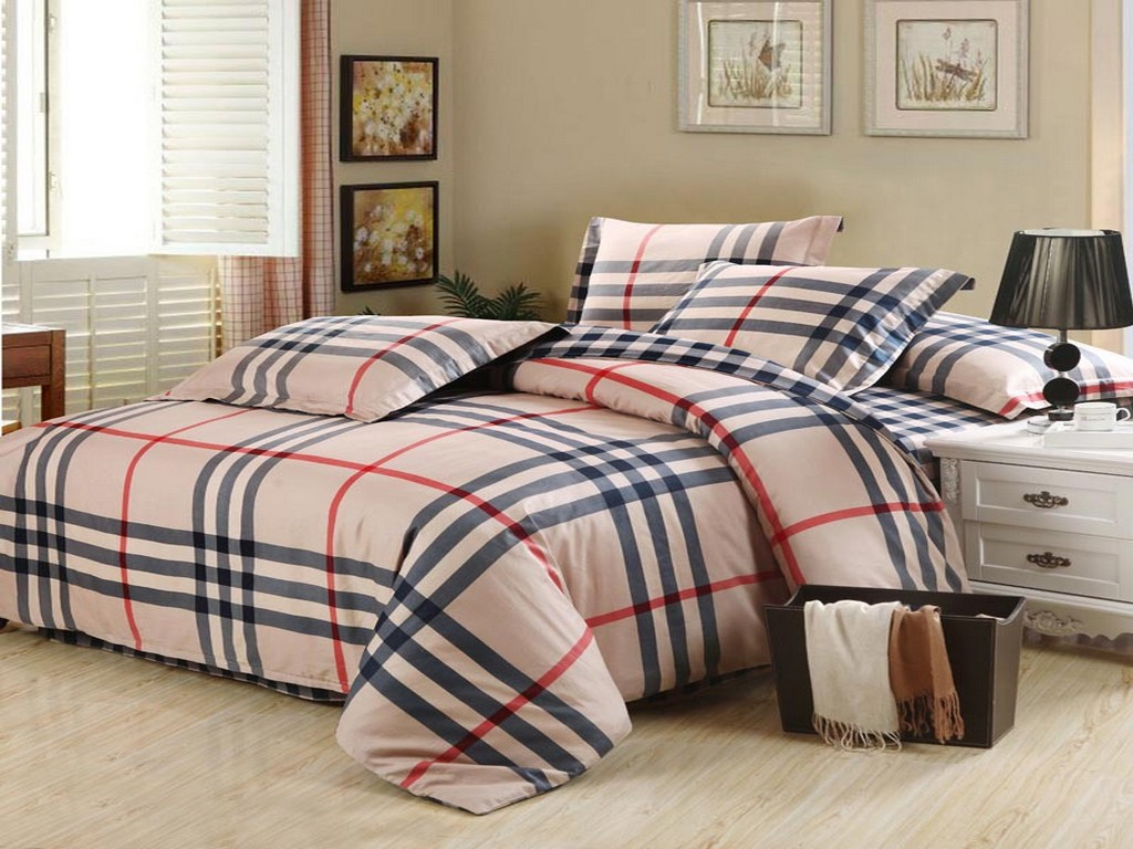 3d bedding set plaid bed set bedclothes duvet cover doona cover set sheet pillowcase queen king