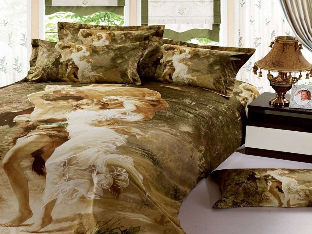 unique wedding bedding set 3d 100 cotton oil printed bedshee