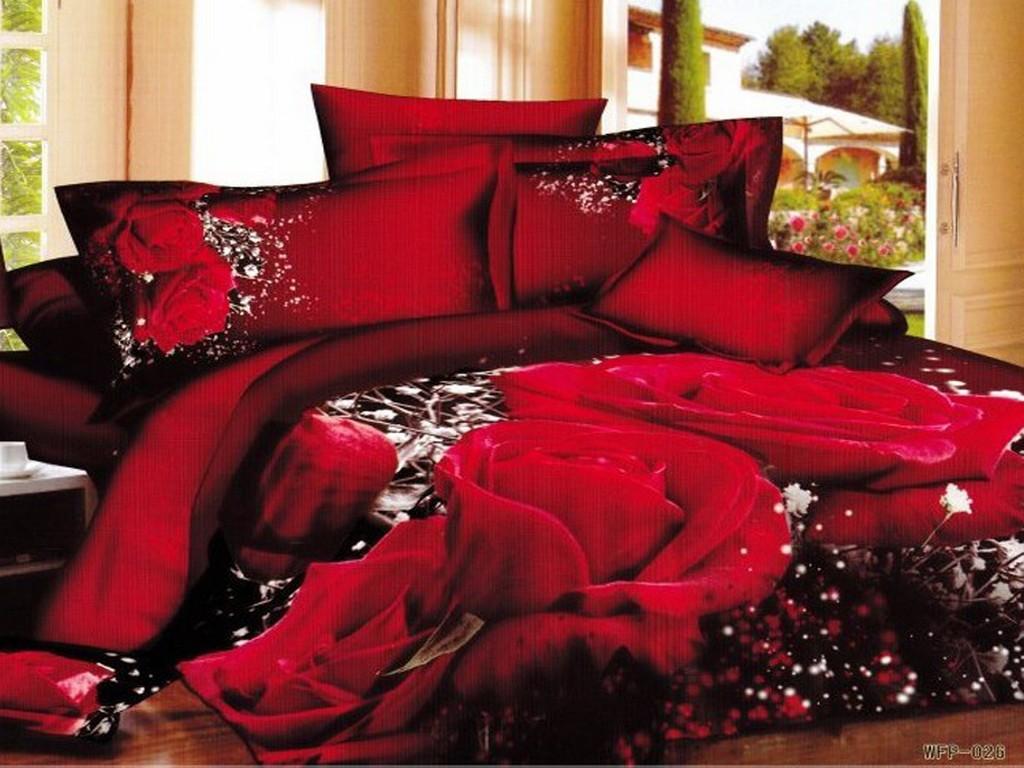 big red rose series bedding set 3d printing 4pc comforters d