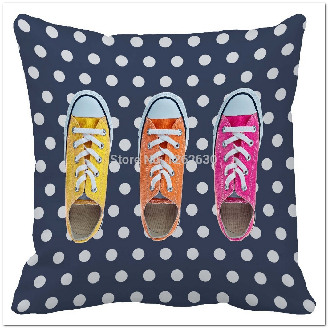 navy blue dot retro colorful shoes print custom home decorat