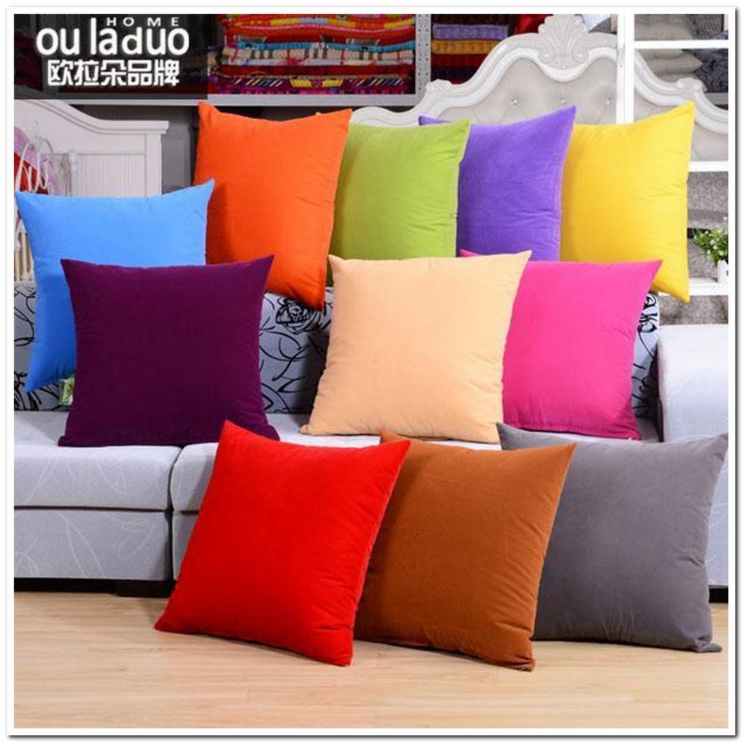 high grade solid colored decorative pillows sofa car bed cha